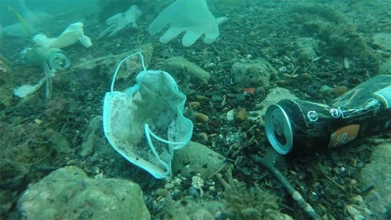 Barbijos y guantes en el fondo del mar