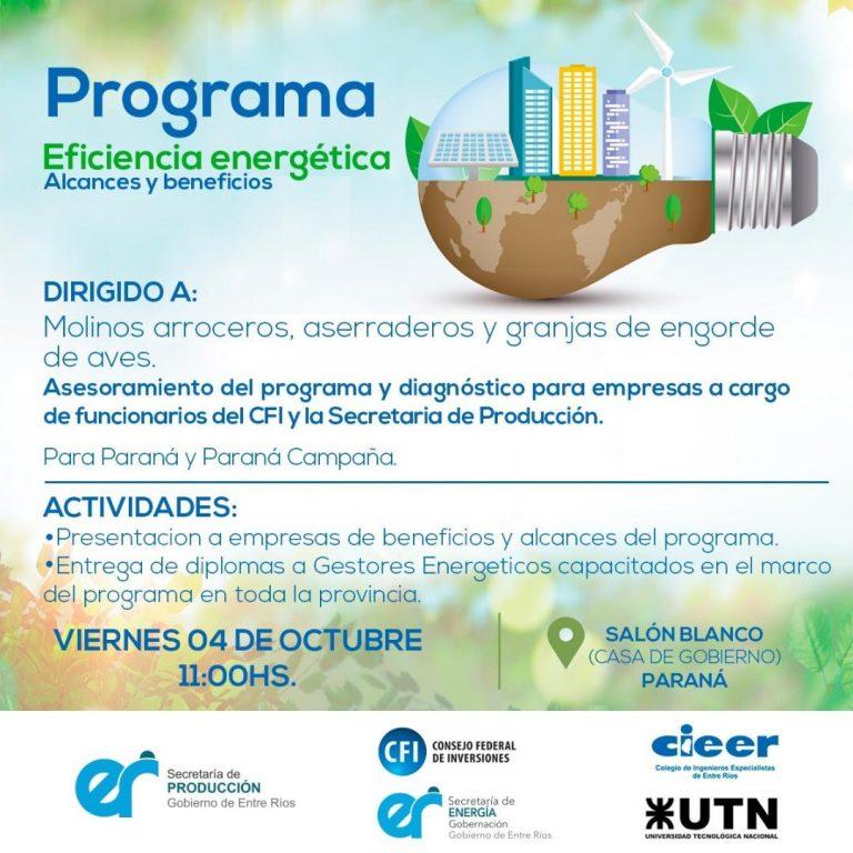 Se presentará el Programa de Eficiencia Energética
