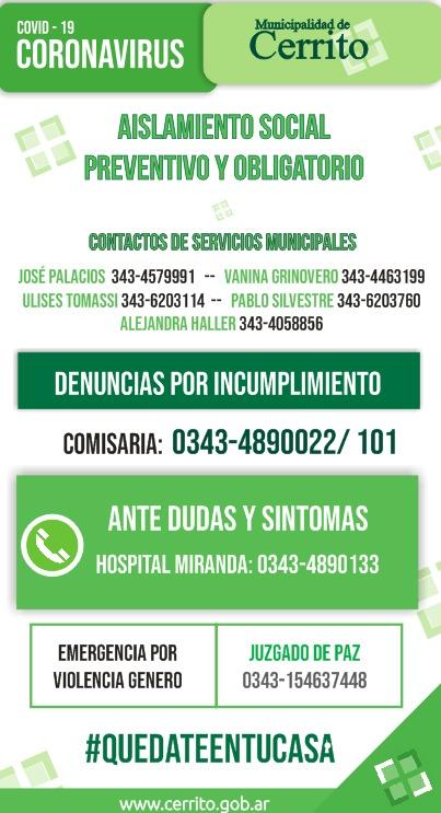 CORONAVIRUS: Teléfonos de emergencias o denuncias en Cerrito