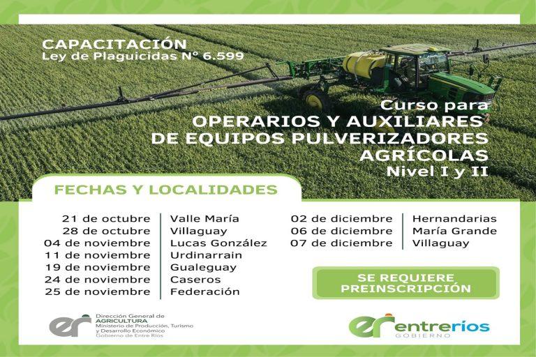 Capacitación para operarios y auxiliares de equipos pulverizadores agrícolas